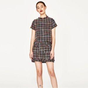 Zara Frayed Tweed Top + Mini Skirt Set XS